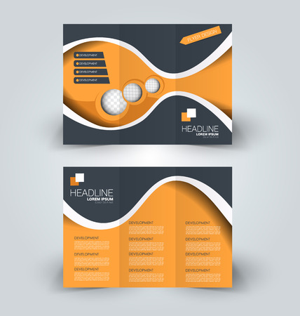 Brochure design template for business, education, advertisement. Trifold booklet illustration. Orange and grey color.