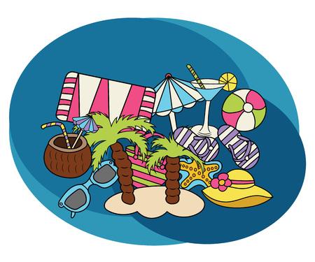 sun cream: Beach and travel design set. Cartoon, free hand drawn, doodle illustration.