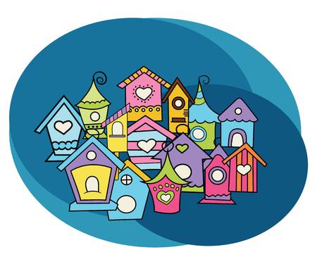 Bird houses design set. Cartoon, free hand drawn, doodle illustration.
