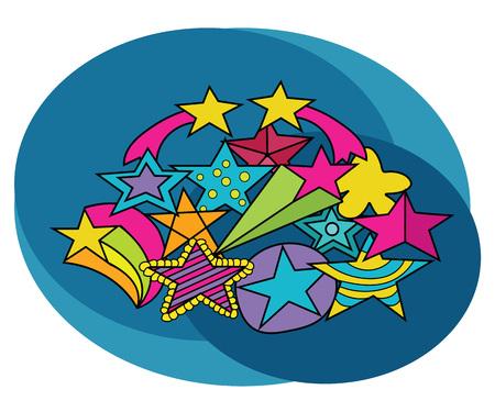 doodled: Stars design set. Cartoon, free hand drawn, doodle illustration.