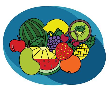 banana sheet: Fruits design set. Cartoon, free hand drawn, doodle illustration.