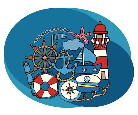 Sea and nautical design set. Cartoon free hand draw doodle vector illustration.