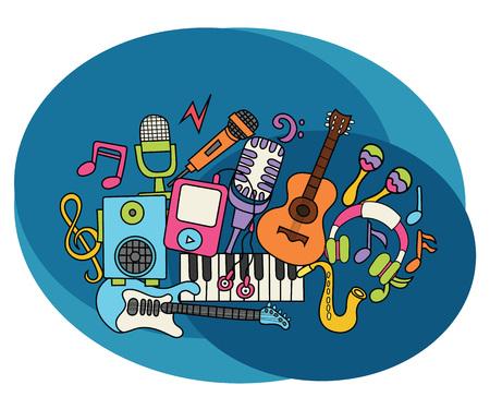 Music design set. Cartoon free hand draw doodle vector illustration.
