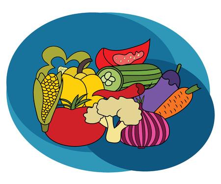 Conjunto de diseño de verduras. Mano de dibujos animados dibujar doodle vector ilustración.