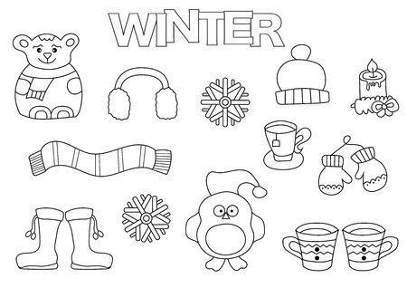 Hand drawn winter set. Coloring book template.  Outline doodle elements vector illustration. Kids game page.