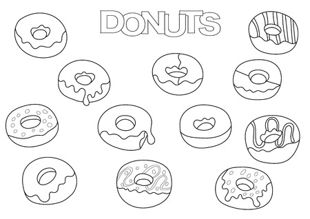 Donuts elements hand drawn set. Coloring book template.  Outline doodle elements vector illustration. Kids game page.