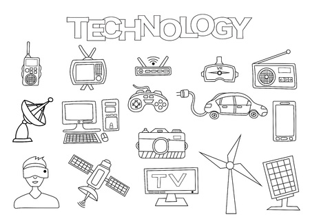 Technology elements hand drawn set. Coloring book template.  Outline doodle elements vector illustration. Kids game page. Stock Photo