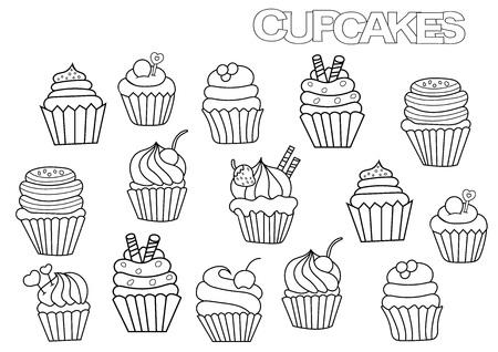 手描きのカップケーキ セット。本ページ テンプレートを着色します。 落書きベクトル図の概要を説明します。 写真素材 - 75989168
