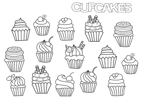 Hand drawn cupcakes set. Coloring book page template.  Outline doodle vector illustration. Archivio Fotografico