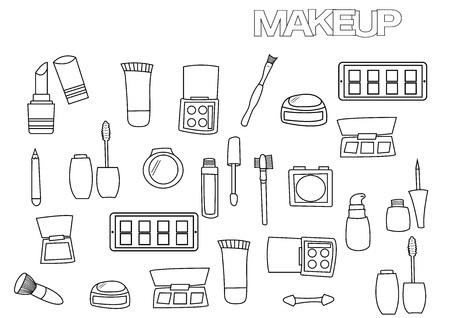 Conjunto De Diseño De Maquillaje. Mano De Dibujos Animados Dibujar ...
