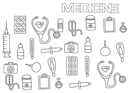 Conjunto De Medicina Dibujado A Mano. Plantilla De Página Del Libro ...