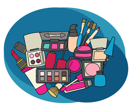 Makeup design set. Cartoon free hand draw doodle vector illustration.