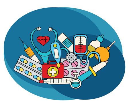 Medicine design set. Cartoon free hand draw doodle vector illustration.