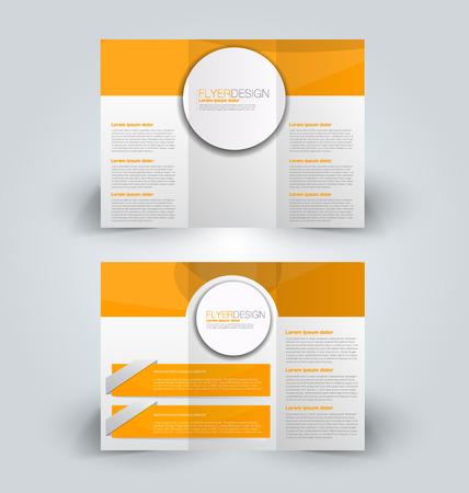Brochure mock up design template for business, education, advertisement. Trifold booklet editable printable vector illustration. Orange color. Illustration