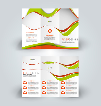 Brochure template. Business trifold flyer.  Creative design trend for professional corporate style. Vector illustration. Orange and green color.