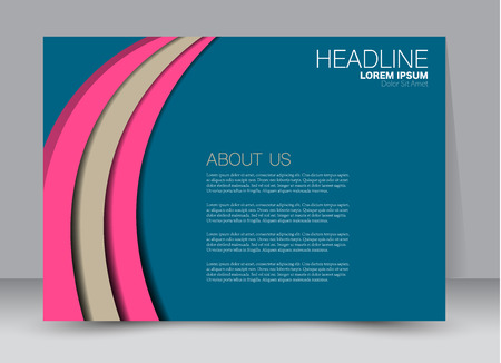 Flyer, brochure, billboard template design landscape orientation for education, presentation, website. Blue and pink color. Editable vector illustration.