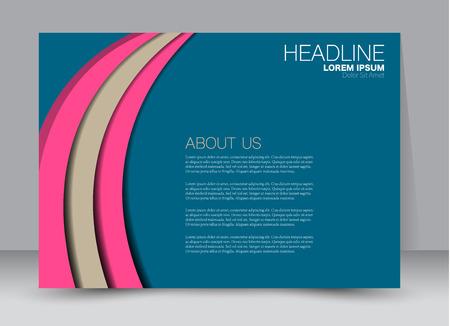 Flyer, brochure, billboard template design landscape orientation for education, presentation, website. Blue and pink color. Editable vector illustration.