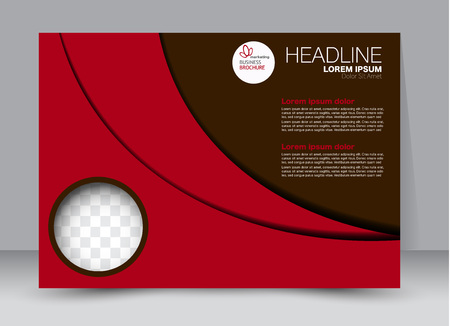 Flyer, brochure, billboard template design landscape orientation for education, presentation, website. Red and brown color. Editable vector illustration.