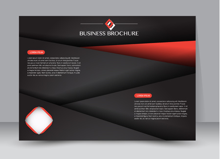 Flyer, brochure, billboard template design landscape orientation for education, presentation, website. Black and red color. Editable vector illustration.