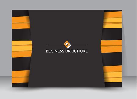 Flyer, brochure, billboard template design landscape orientation for education, presentation, website. Black and orange color. Editable vector illustration.