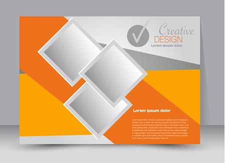 Flyer, brochure, billboard template design landscape orientation for education, presentation, website. Orange color. Editable vector illustration. Illustration