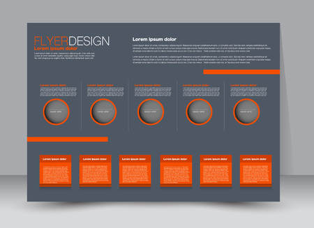 Flyer, brochure, billboard template design landscape orientation for education, presentation, website. Grey and orange color. Editable vector illustration.
