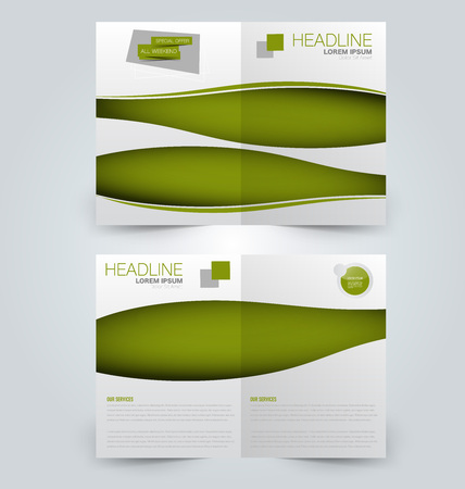 Abstract flyer design background. Brochure template. Can be used for magazine cover, business mockup, education, presentation, report. Green color. Illustration