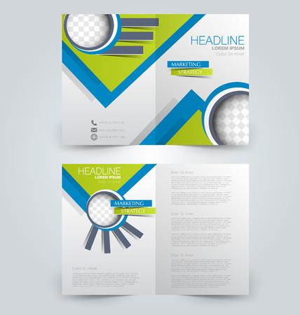 Abstract flyer design background. Brochure template. Can be used for magazine cover, business mockup, education, presentation, report. Blue and green color.