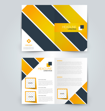 Abstract flyer design background. Brochure template. Can be used for magazine cover, business mockup, education, presentation, report. Orange color. Illustration