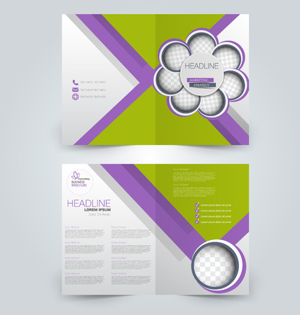 Abstract flyer design background. Brochure template. Can be used for magazine cover, business mockup, education, presentation, report. Green and purple color. Illustration