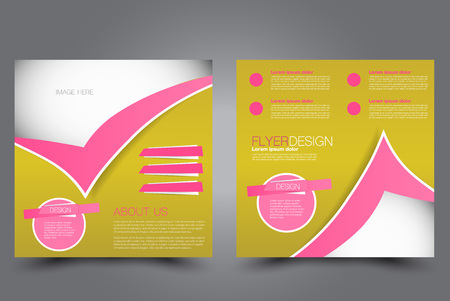 Square flyer template. Brochure design. Annual report poster. Leaflet cover. For business and education. Vector illustration. Pink and yellow color.
