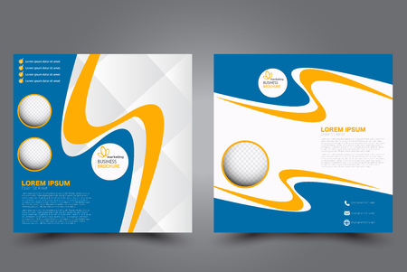 Square flyer template. Brochure design. Annual report poster. Leaflet cover. For business and education. Vector illustration. Blue and yellow color.