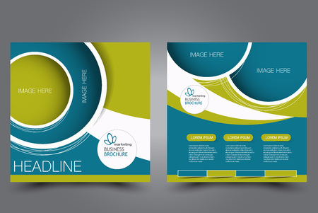 Square flyer template. Brochure design. Annual report poster. Leaflet cover. For business and education. Vector illustration. Blue and green color. Illustration