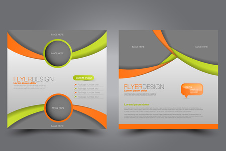 Square flyer template. Brochure design. Annual report poster. Leaflet cover. For business and education. Vector illustration. Green and orange color. Illustration