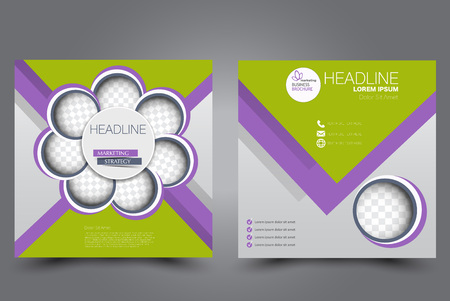 Square flyer template. Brochure design. Annual report poster. Leaflet cover. For business and education. Vector illustration. Purple and green color.