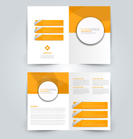 Abstract flyer design background. Brochure template. Can be used for magazine cover, business mockup, education, presentation, report. Orange color. Stock Photo