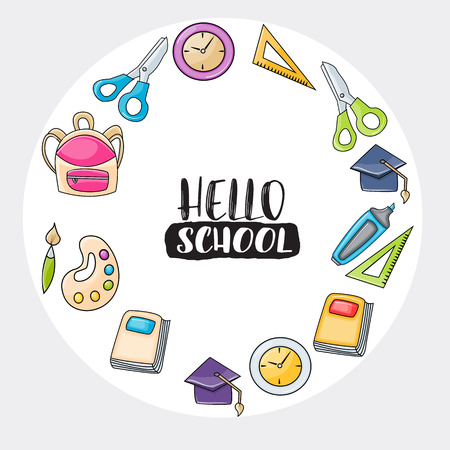 Hello school doodle clip art greeting card. Cartoon vector illustration for flyer or banner. Typography script text.