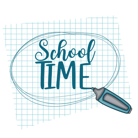 School time doodle clip art greeting card. Cartoon vector illustration for flyer to banner. Typography script text. Illustration