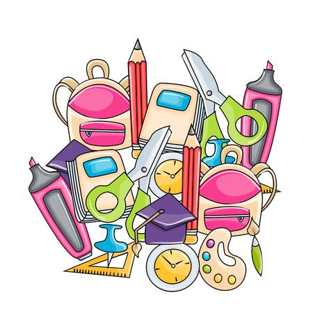School elements clip art set in cartoon style. Hand draw vector illustration doodle.