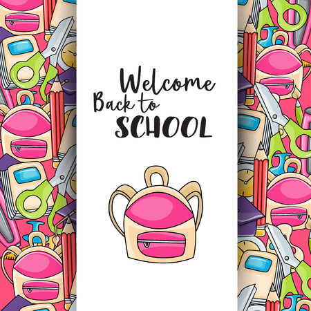 Welcome back to school doodle clip art greeting card. Cartoon vector illustration for flyer to banner. Typography script text. Illustration