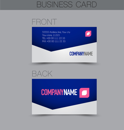 Business card set template for business identity corporate style. Blue color. Vector illustration.