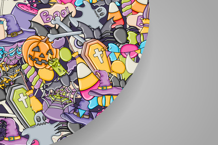 Halloween background. Holiday design elements. Template for flyer, brochure, banner, advertisement. Blank space for text. Vector illustration.
