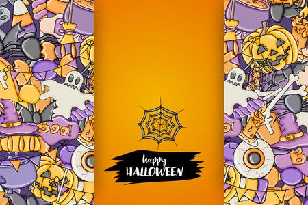 Halloween background. Holiday design elements. Template for flyer, brochure, banner, advertisement. Vector illustration.