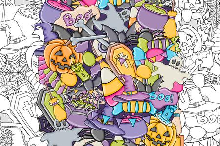 casket: Halloween background. Holiday design elements. Template for flyer, brochure, banner, advertisement. Outline coloring page. Vector illustration. Illustration