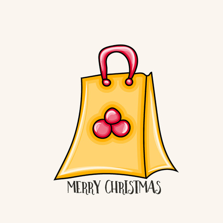 Merry Christmas typography. Package for presents. Cartoon style vector illustration.