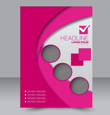 Brochure template. Business flyer. Annual report cover. Editable A4 poster for design education, presentation, website, magazine page. Pink color.