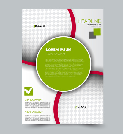Green and red  flyer vector design template set. Business brochure. Annual report or magazine cover.