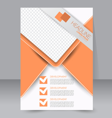 Brochure template. Business flyer. Annual report cover. Editable A4 poster for design education, presentation, website, magazine page. Orange color.