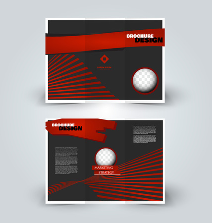 Brochure template. Business trifold flyer.  Creative design for professional corporate style. Vector illustration. Black and red color.