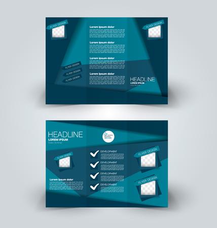 パンフレットは、ビジネス、教育、広告のためのデザインテンプレートをモックアップ。三つ折り小冊子編集可能な印刷可能なベクトルのイラスト。青い色。 写真素材 - 91598510